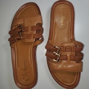 Coke Haan leather slide sandals. NWOT